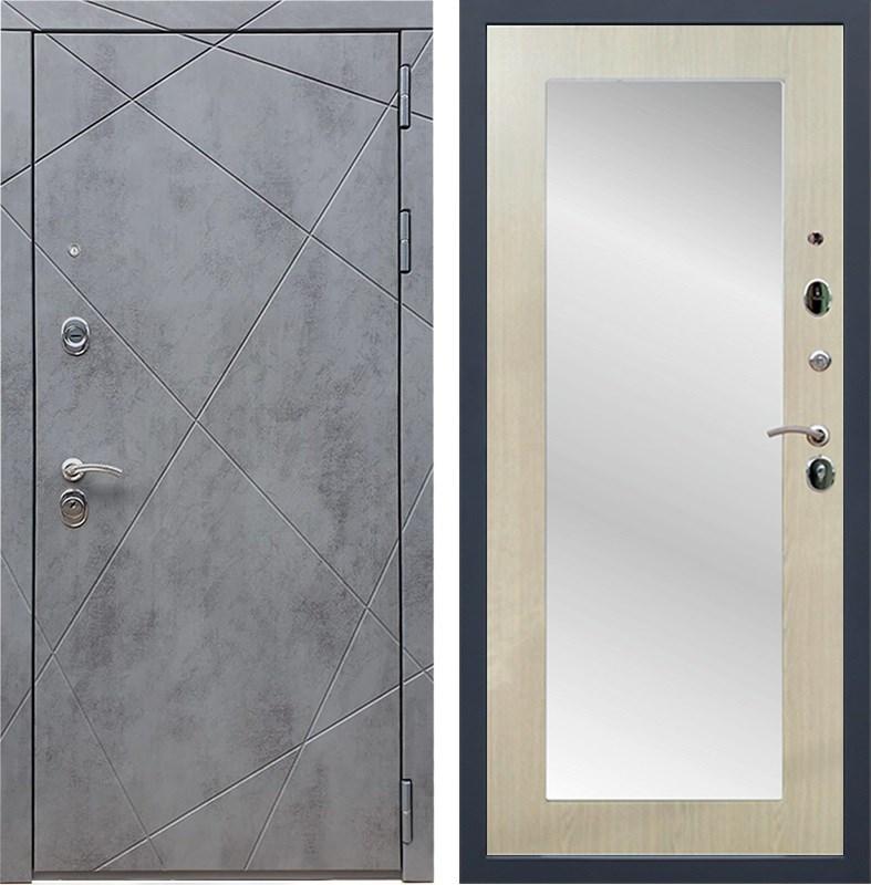 Входная металлическая дверь Армада 13 с Зеркалом Пастораль (Бетон тёмный / Дуб белёный)