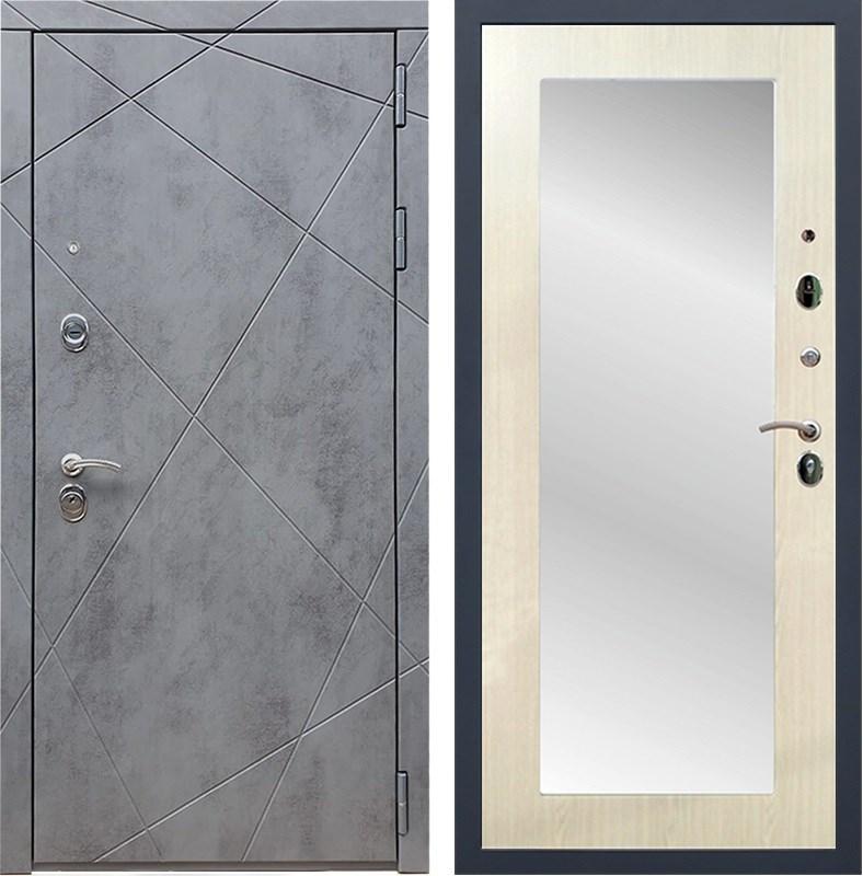 Входная металлическая дверь Армада 13 с Зеркалом Пастораль (Бетон тёмный / Лиственница беж)
