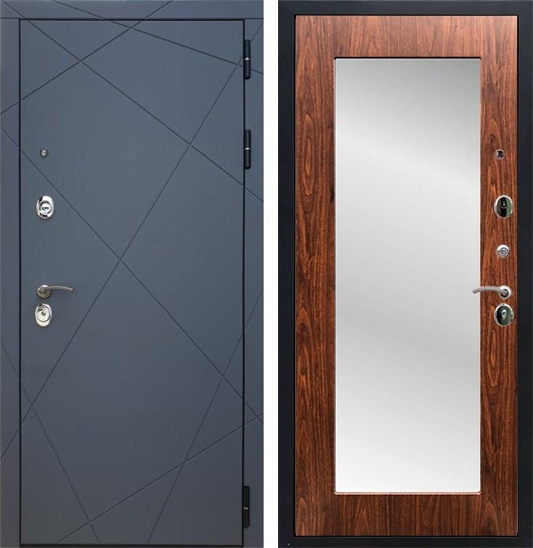 Входная металлическая дверь Армада 13 с Зеркалом Пастораль (Графит софт / Берёза морёная)