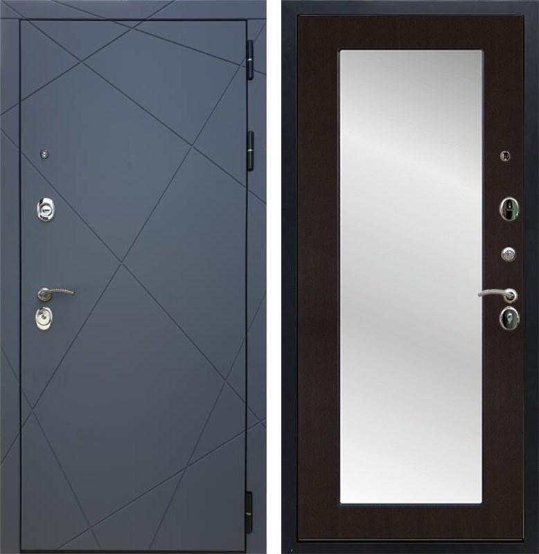 Входная металлическая дверь Армада 13 с Зеркалом Пастораль (Графит софт / Венге)