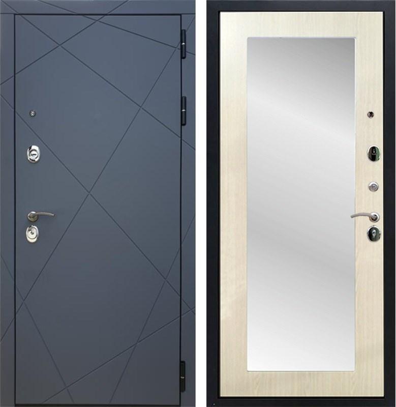 Входная металлическая дверь Армада 13 с Зеркалом Пастораль (Графит софт / Лиственница беж)