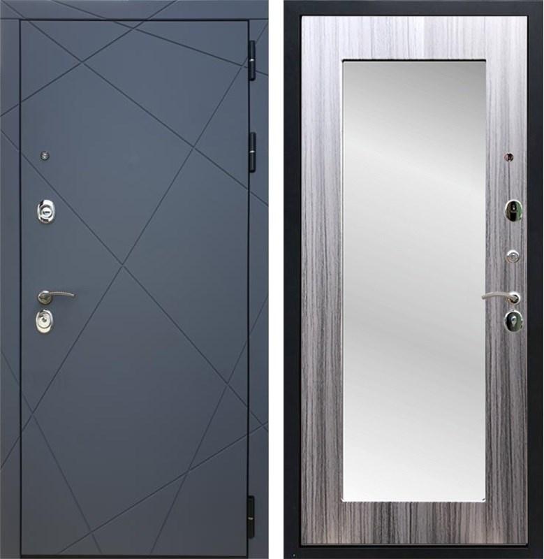 Входная металлическая дверь Армада 13 с Зеркалом Пастораль (Графит софт / Сандал серый)