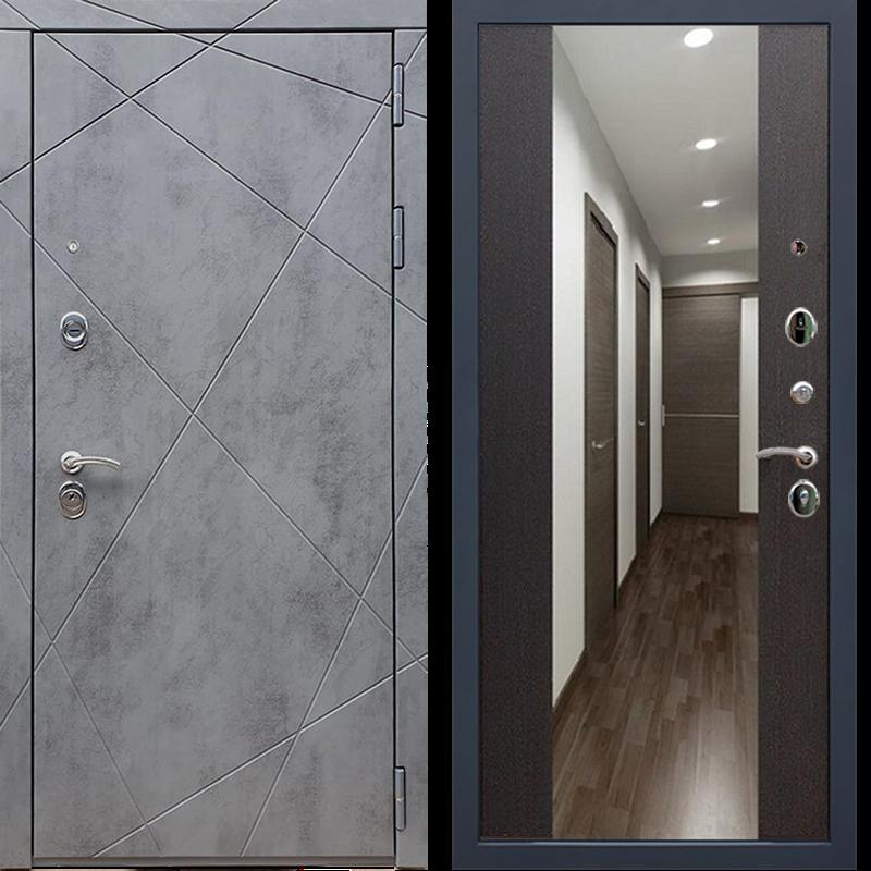 Входная металлическая дверь Армада 13 с Зеркалом СБ-16 (Бетон тёмный / Венге)