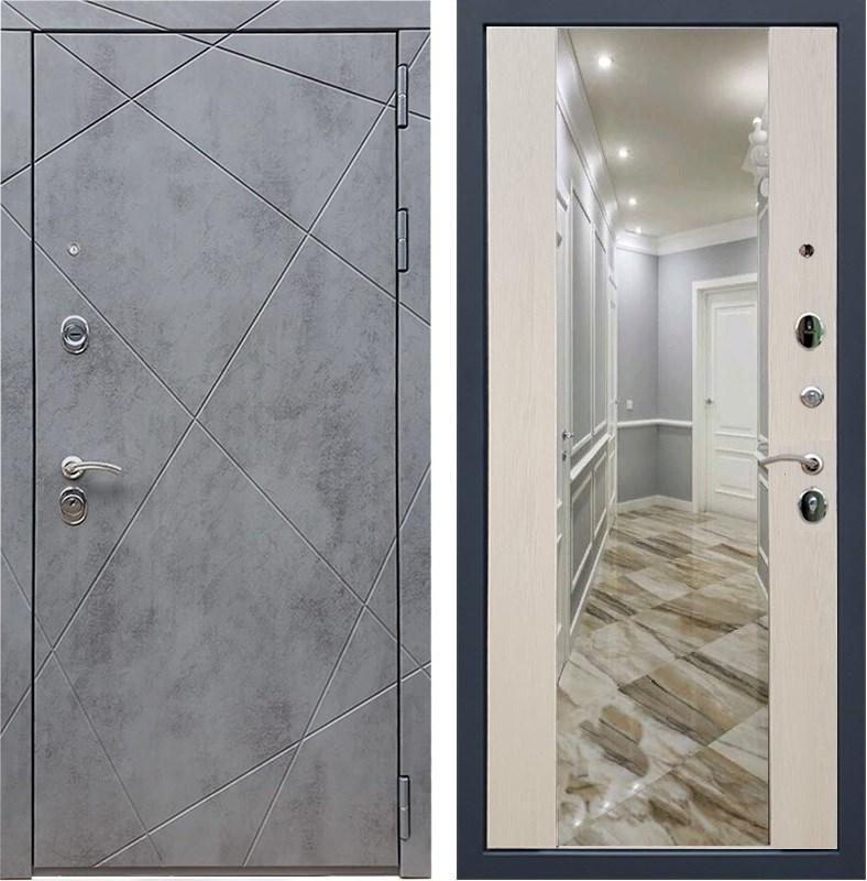 Входная металлическая дверь Армада 13 с Зеркалом СБ-16 (Бетон тёмный / Лиственница беж)
