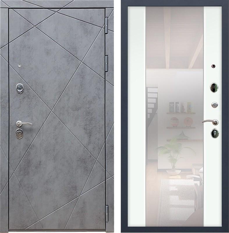 Входная металлическая дверь Армада 13 с Зеркалом СБ-16 (Бетон тёмный / Ясень белый)