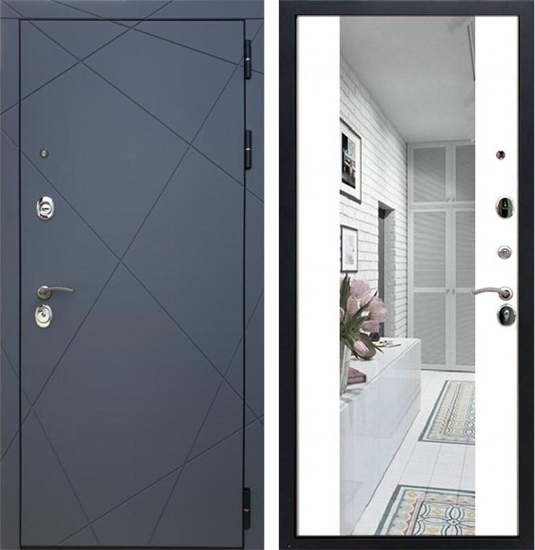 Входная металлическая дверь Армада 13 с Зеркалом СБ-16 (Графит софт / Белый матовый)
