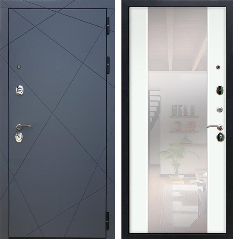 Входная металлическая дверь Армада 13 с Зеркалом СБ-16 (Графит софт / Ясень белый)