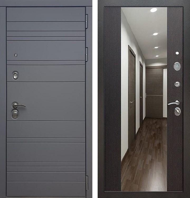 Входная металлическая дверь Армада 14 СБ-16 с Зеркалом (Графит софт / Венге)