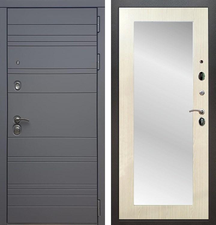 Входная металлическая дверь Армада 14 с Зеркалом Пастораль (Графит софт / Лиственница беж)