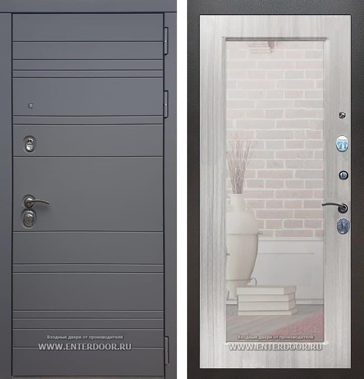 Входная металлическая дверь Армада 14 с Зеркалом Пастораль (Графит софт / Сандал белый)