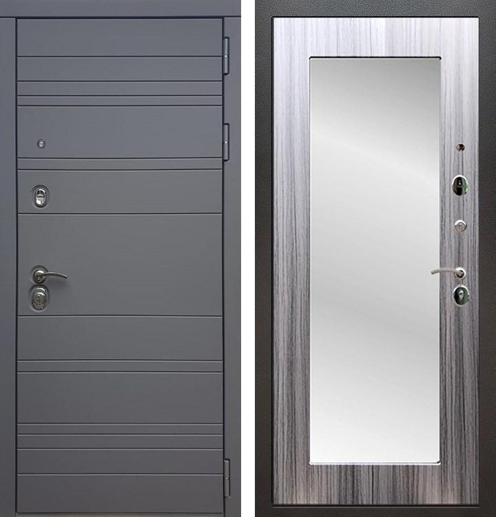 Входная металлическая дверь Армада 14 с Зеркалом Пастораль (Графит софт / Сандал серый)