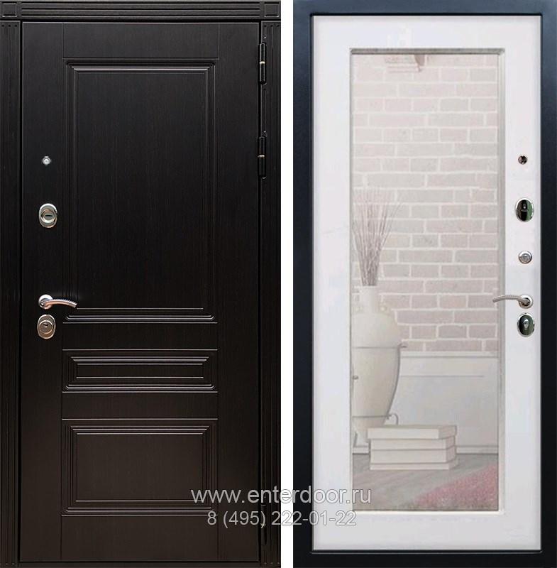Входная металлическая дверь Армада 17 Мегаполис с Зеркалом Пастораль (Венге / Белый ясень)