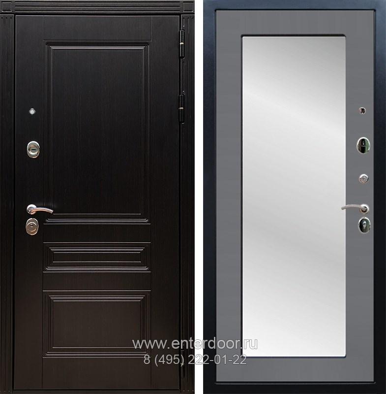 Входная металлическая дверь Армада 17 Мегаполис с Зеркалом Пастораль (Венге / Графит софт)