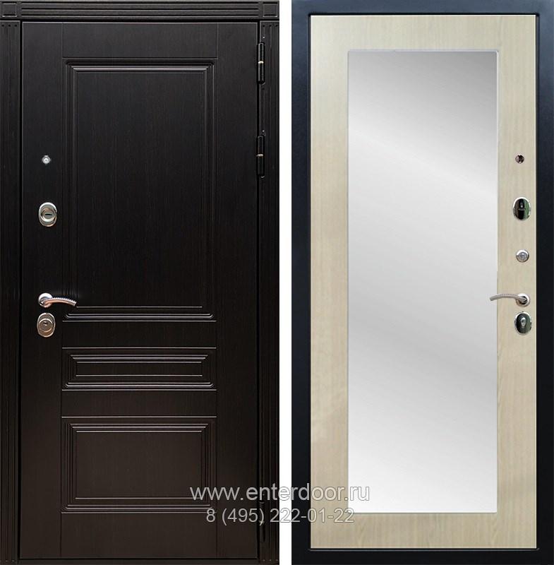 Входная металлическая дверь Армада 17 Мегаполис с Зеркалом Пастораль (Венге / Дуб белёный)