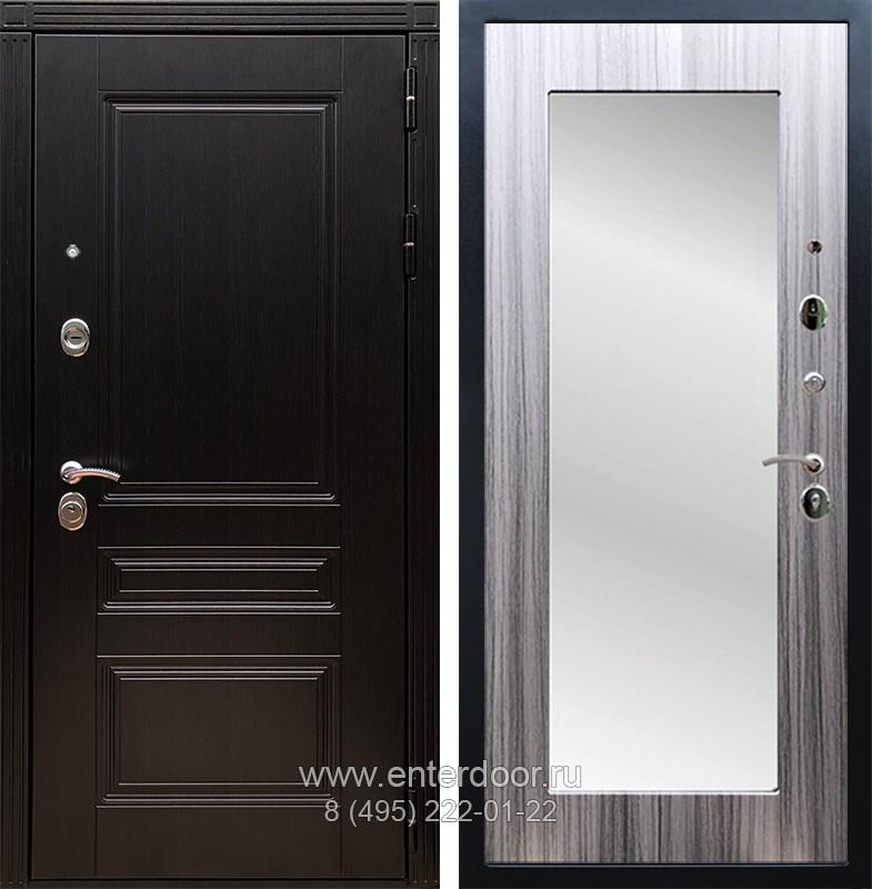 Входная металлическая дверь Армада 17 Мегаполис с Зеркалом Пастораль (Венге / Сандал серый)