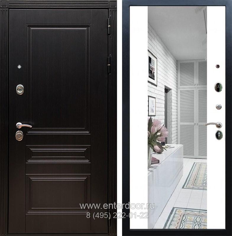 Входная металлическая дверь Армада 17 Мегаполис с Зеркалом СБ-16 (Венге / Белый матовый)
