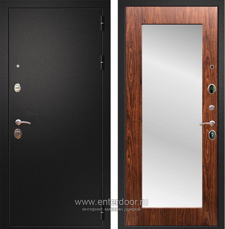 Входная металлическая дверь Армада 1A Пастораль с Зеркалом (Черный муар / Берёза морёная)