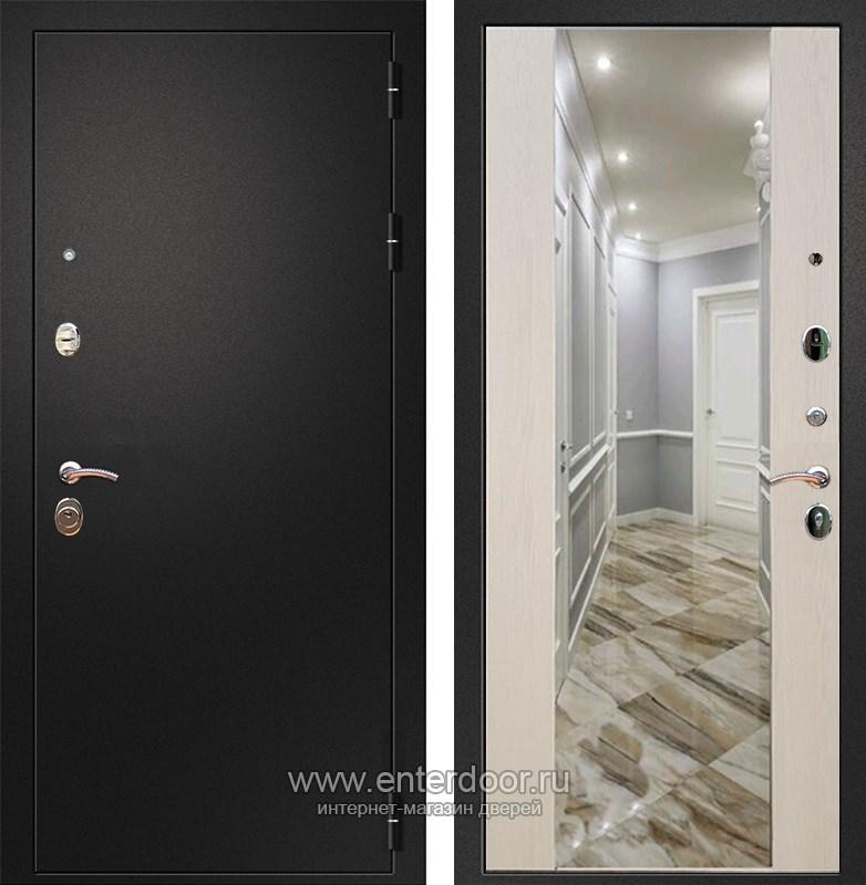 Входная металлическая дверь Армада 1A с Зеркалом СБ-16 (Черный муар / Лиственница беж)
