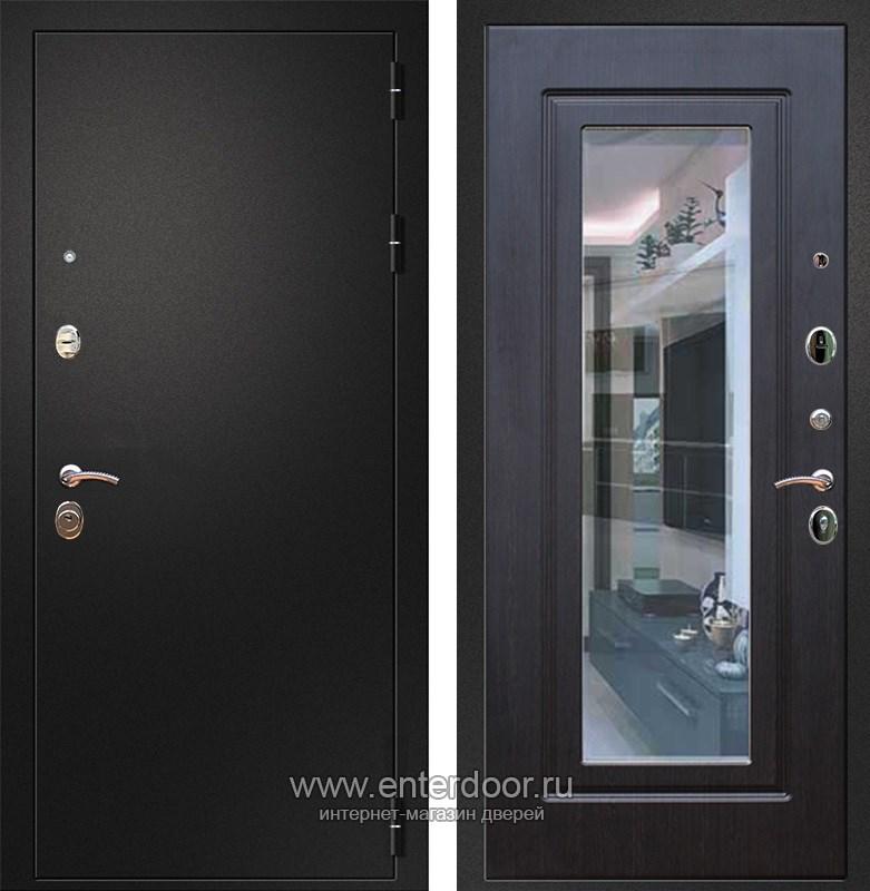 Входная металлическая дверь Армада 1A с Зеркалом (Черный муар / Венге)