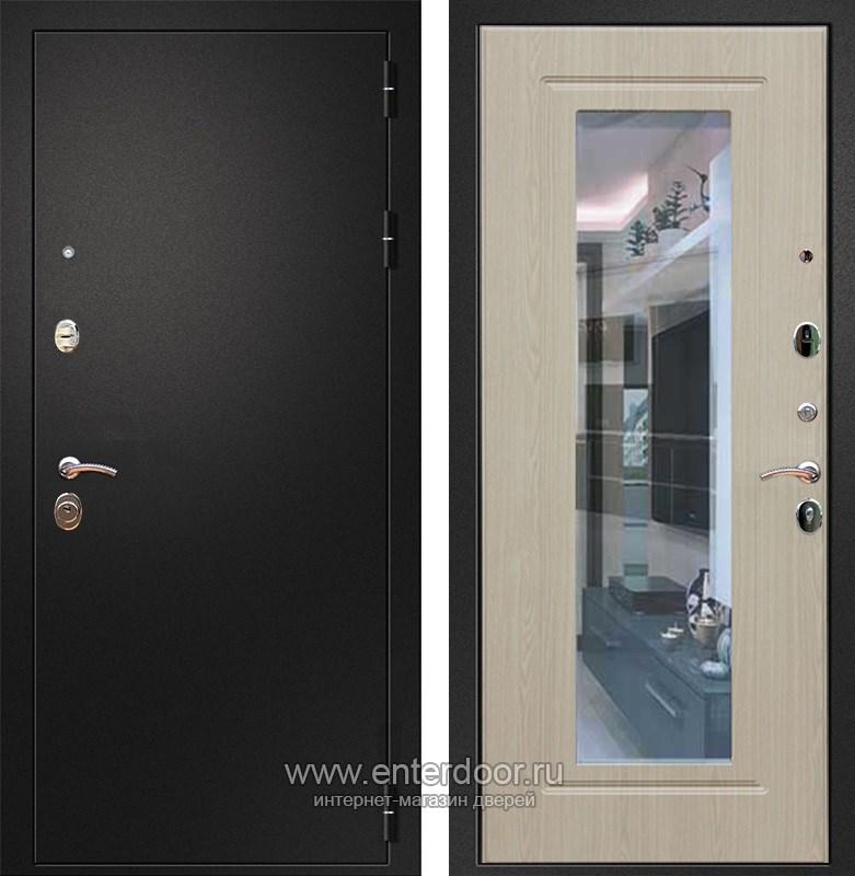 Входная металлическая дверь Армада 1A с Зеркалом (Черный муар / Дуб белёный)