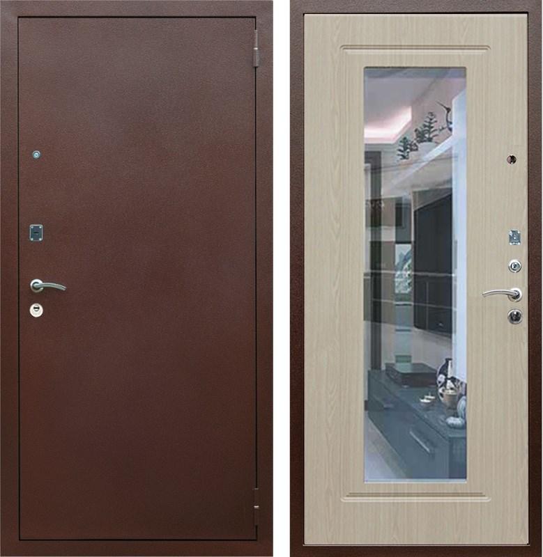 Входная металлическая дверь Армада 1A с зеркалом (Медный антик / Дуб беленый)