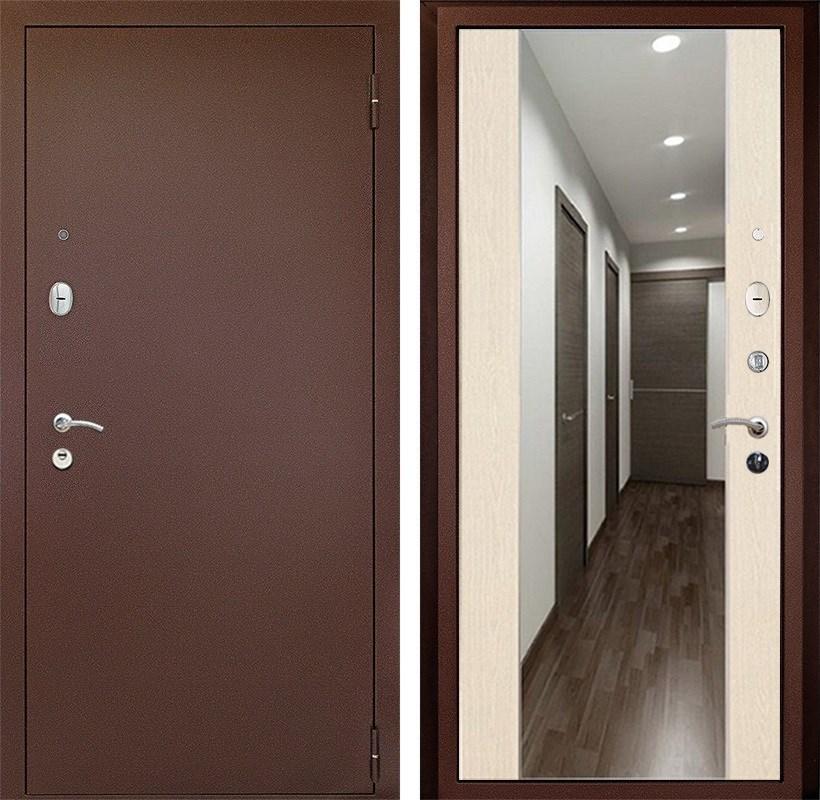 Входная металлическая дверь Армада 2 с зеркалом СБ-16 (Антик медь / Лиственница беж)