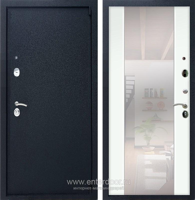 Входная металлическая дверь Армада 3 с Зеркалом СБ-16 (Черный крокодил / Белый ясень)