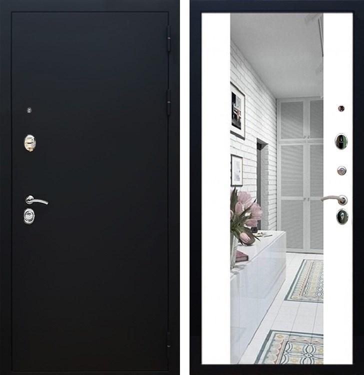 Входная металлическая дверь Армада 5А СБ-16 с Зеркалом (Чёрный муар / Белый матовый)