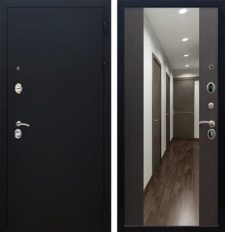 Входная металлическая дверь Армада 5А СБ-16 с Зеркалом (Чёрный муар / Венге)