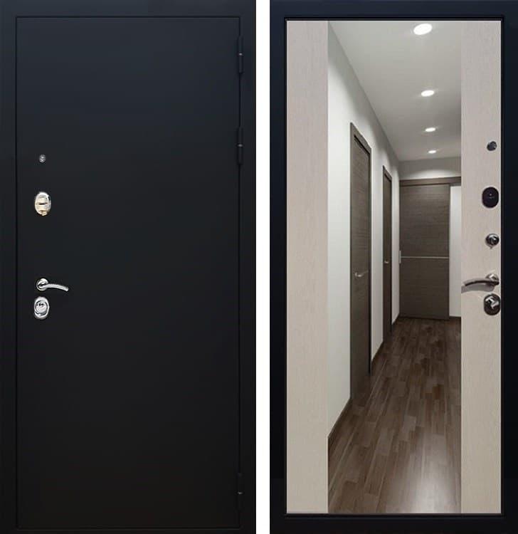 Входная металлическая дверь Армада 5А СБ-16 с Зеркалом (Чёрный муар / Лиственница беж)