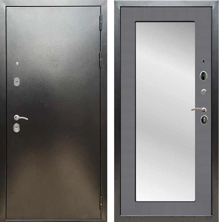 Входная металлическая дверь Армада 5А с Зеркалом Пастораль (Антик серебро / Графит софт)