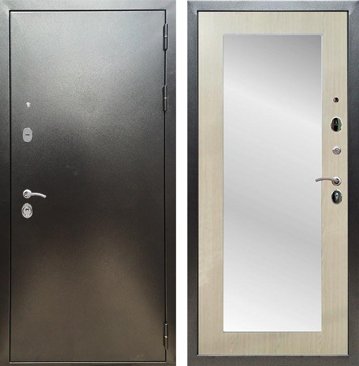 Входная металлическая дверь Армада 5А с Зеркалом Пастораль (Антик серебро / Дуб белёный)