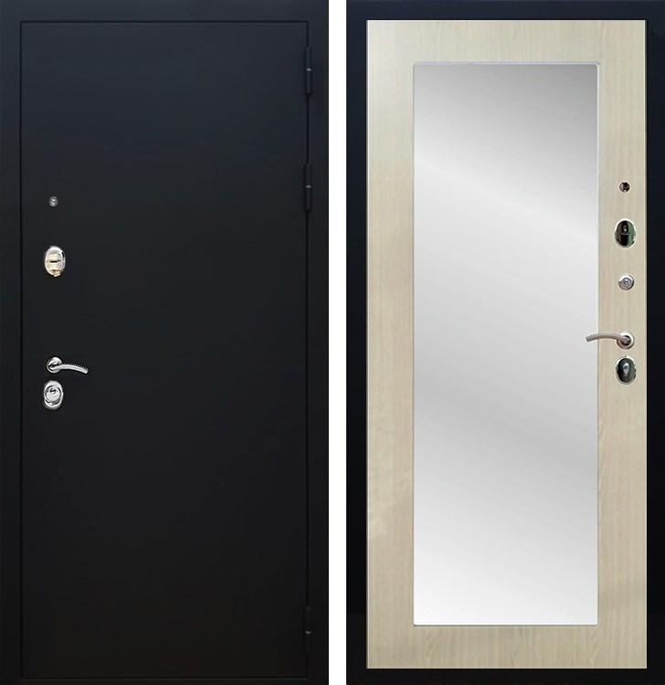 Входная металлическая дверь Армада 5А с Зеркалом Пастораль (Чёрный муар / Дуб белёный)