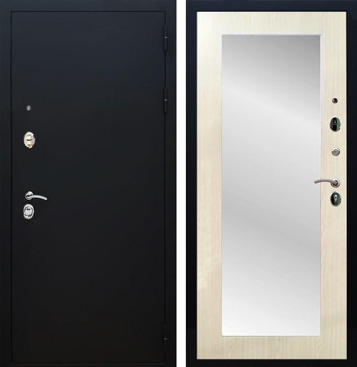 Входная металлическая дверь Армада 5А с Зеркалом Пастораль (Чёрный муар / Лиственница беж)
