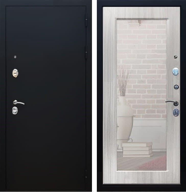 Входная металлическая дверь Армада 5А с Зеркалом Пастораль (Чёрный муар / Сандал белый)