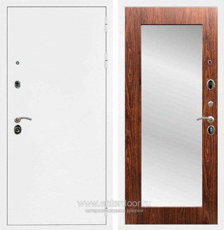 Входная металлическая дверь Армада 5А с зеркалом Пастораль (Белая шагрень / Берёза морёная)
