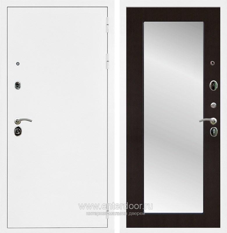 Входная металлическая дверь Армада 5А с зеркалом Пастораль (Белая шагрень / Венге)