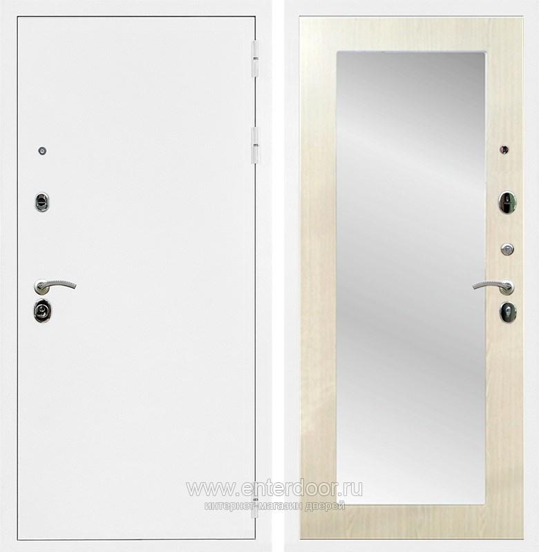 Входная металлическая дверь Армада 5А с зеркалом Пастораль (Белая шагрень / Лиственница беж)