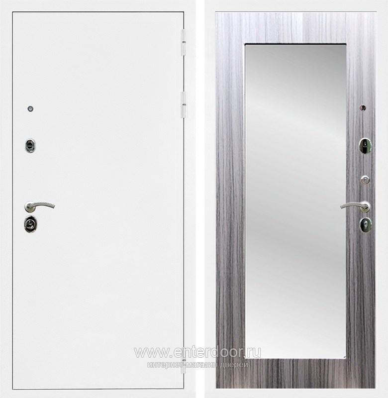 Входная металлическая дверь Армада 5А с зеркалом Пастораль (Белая шагрень / Сандал серый)