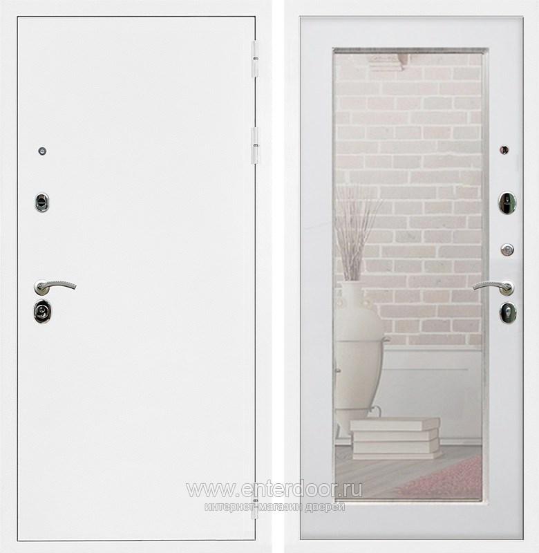 Входная металлическая дверь Армада 5А с зеркалом Пастораль (Белая шагрень / Ясень белый)