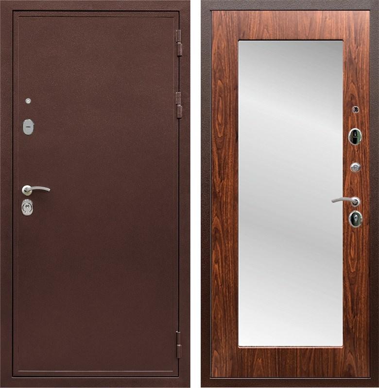 Входная металлическая дверь Армада 5А с зеркалом Пастораль (Медный антик / Берёза морёная)