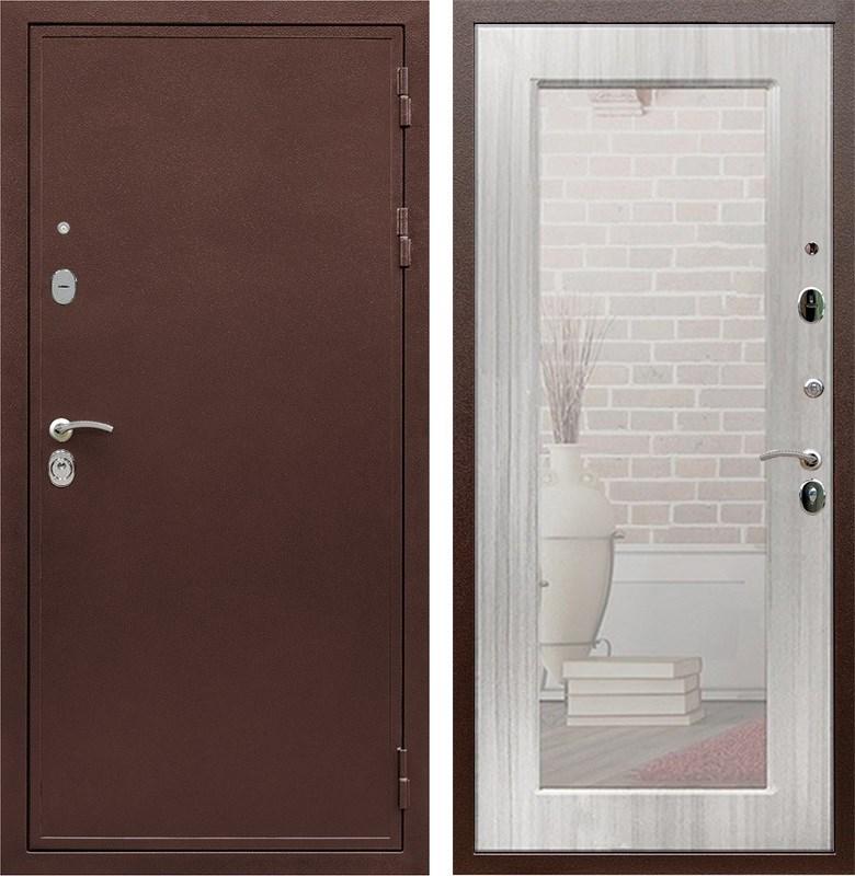 Входная металлическая дверь Армада 5А с зеркалом Пастораль (Медный антик / Сандал белый)