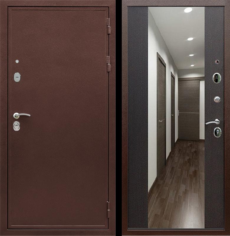 Входная металлическая дверь Армада 5А с зеркалом СБ-16 (Медный антик / Венге)