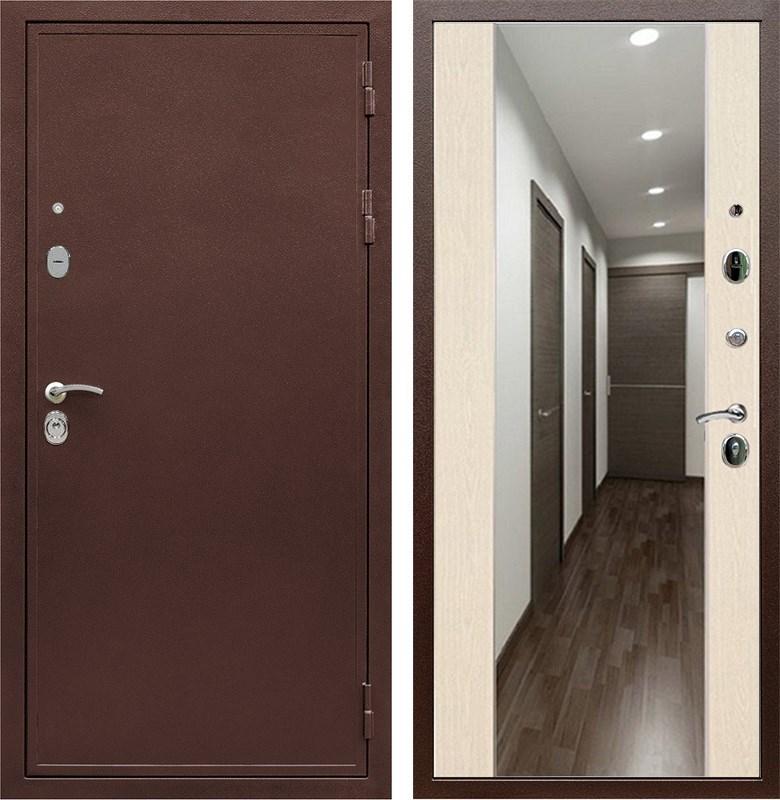 Входная металлическая дверь Армада 5А с зеркалом СБ-16 (Медный антик / Лиственница беж)