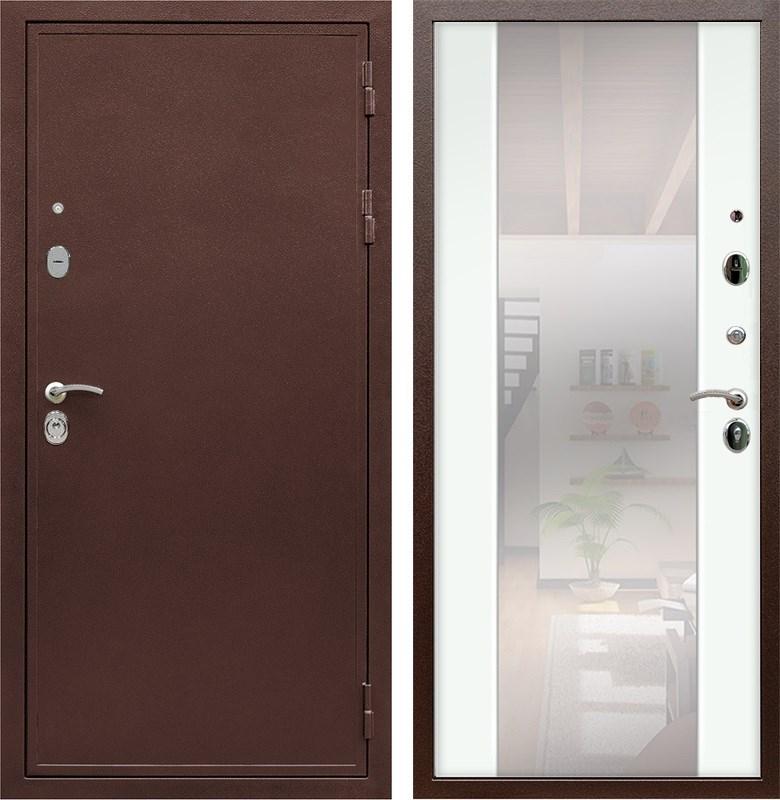 Входная металлическая дверь Армада 5А с зеркалом СБ-16 (Медный антик / Ясень белый)