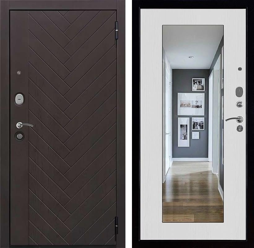 Входная металлическая дверь Вектор Зеркало Maxi Лофт Z (Горький шоколад / Ясень белый)