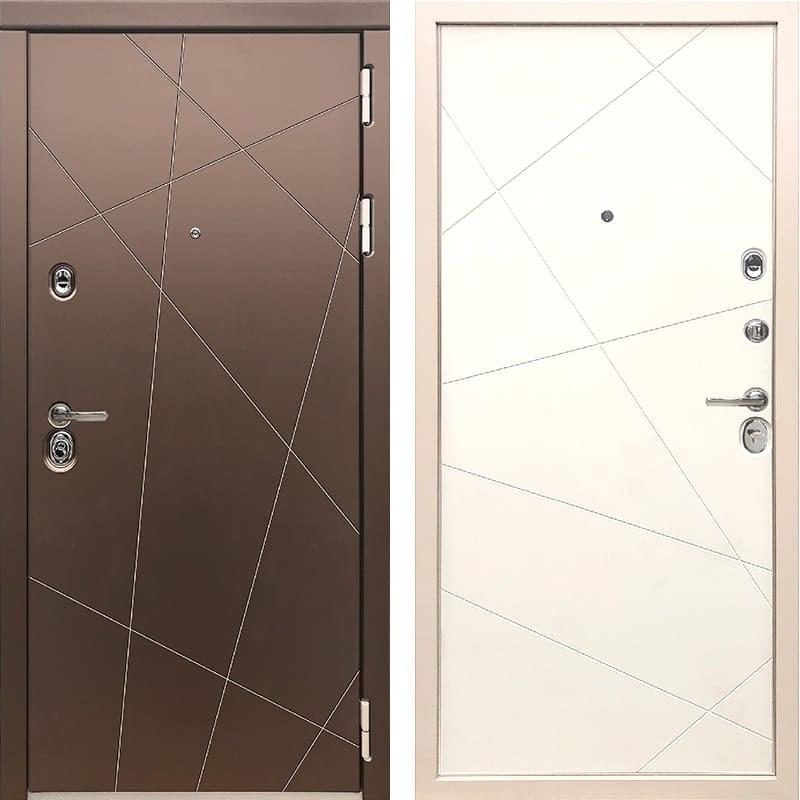 Входная металлическая дверь Дива МД-50 (Бронза-Шампань / Белый софт)
