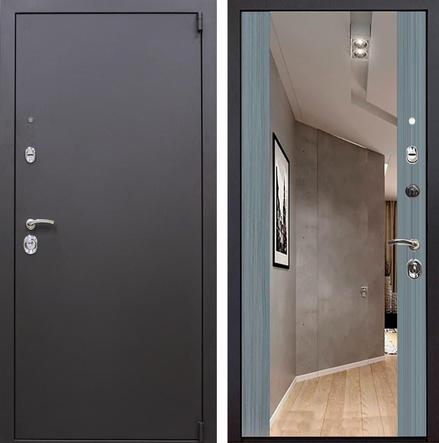 Входная металлическая дверь Квадро Зеркало Премиум (Искра коричневая / Сандал серый)