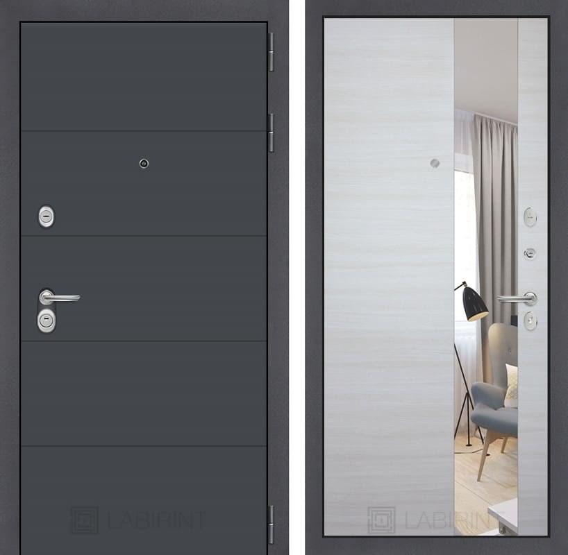 Входная металлическая дверь Лабиринт Арт с Зеркалом (Графит софт / Акация светлая)