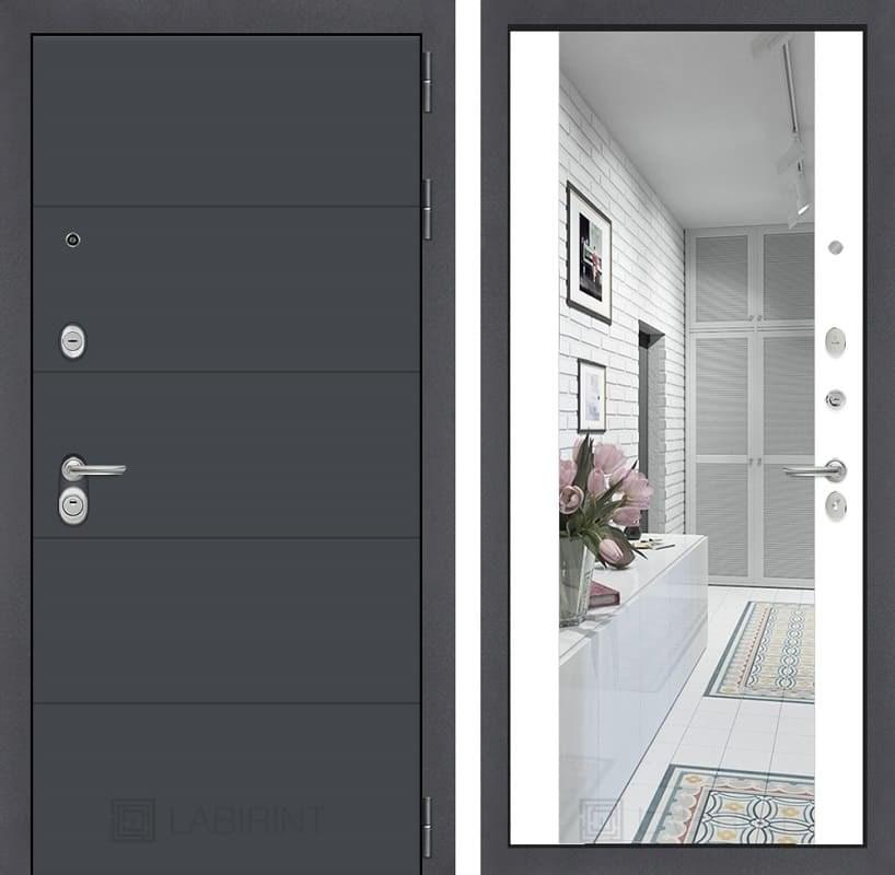 Входная металлическая дверь Лабиринт Арт с Зеркалом Максимум (Графит софт / Белый софт)